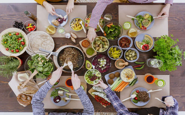 Top view of a table filled with food