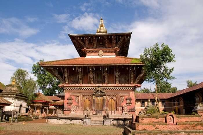 A pagoda style temple with a vast verandah