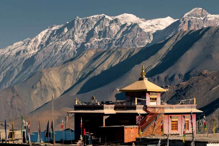 Muktinath temple in the snow covered mountains of Nepal