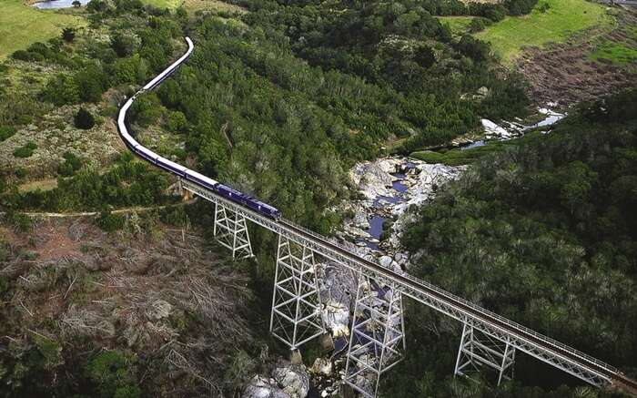 An Aerial view of The Blue Train in South Africa
