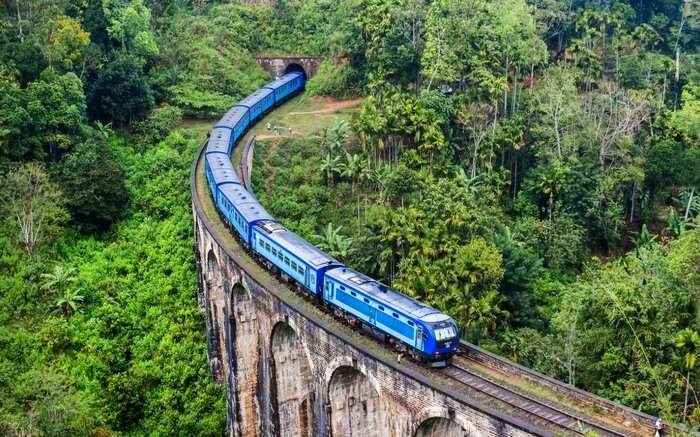 A train from Expo Rail running from Kandy to Ella