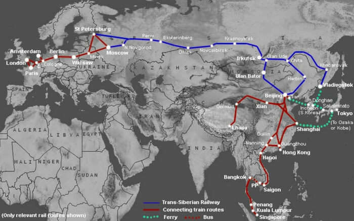 The route of Trans-Siberian Railways