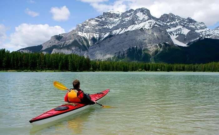 canoeing in banff national park