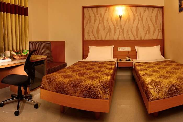 The interiors of a room at the Hotel Le Grand in Coimbatore