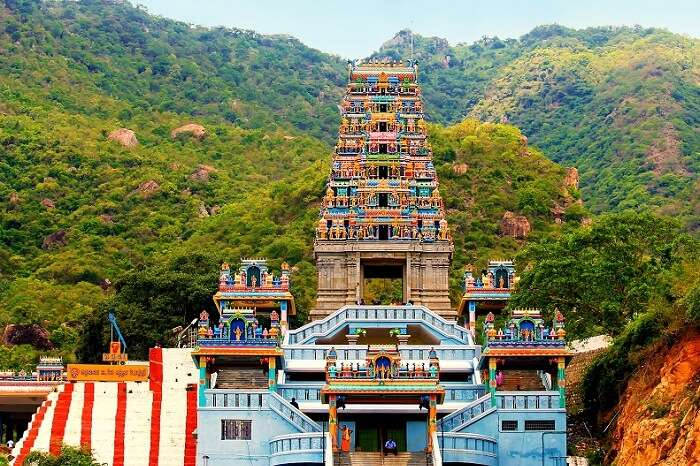 A front-view of the hilltop Maruthamalai Temple in Coimbatore