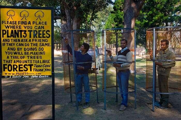 Tourists planting trees at the Chilla Range of Rajaji National Park