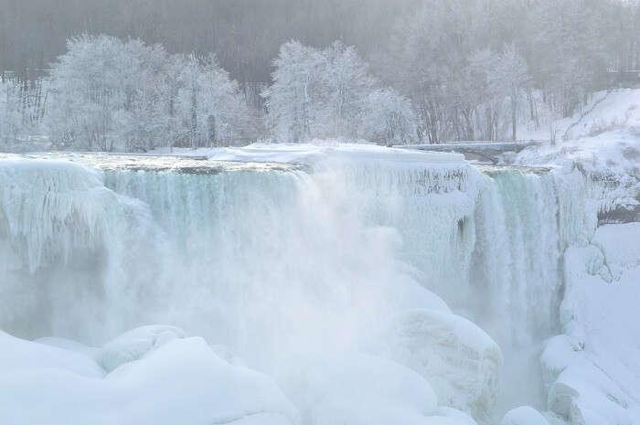 frozen Niagara falls in winter