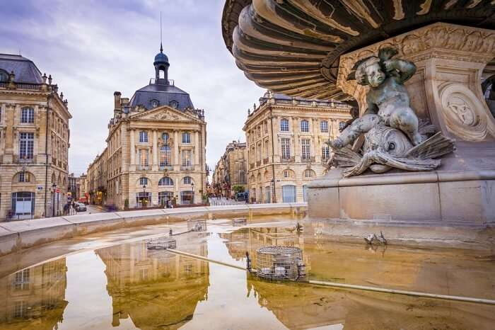 Famous Place de la Bourse in the French city of Bordeaux