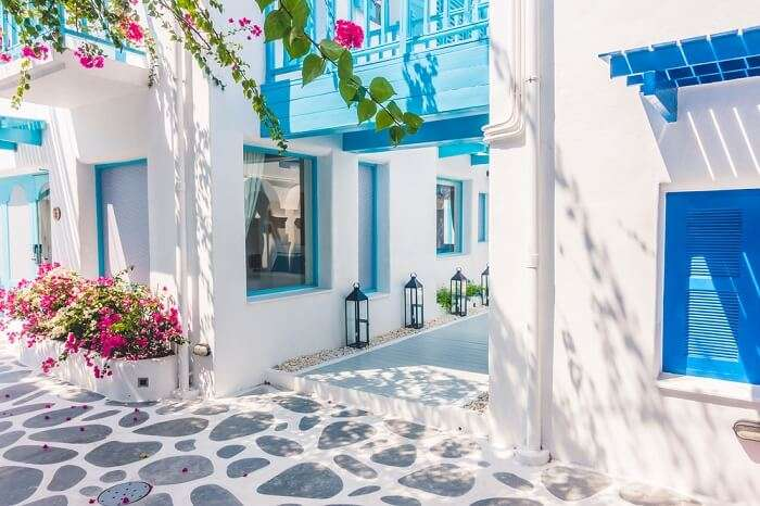 Beautiful architecture of building in Port Santorini In Greece