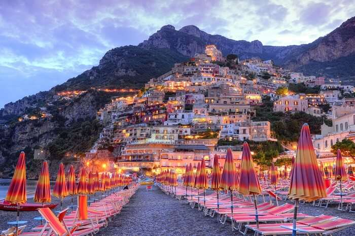 A sunset shot of the beautiful Positano in Amalfi