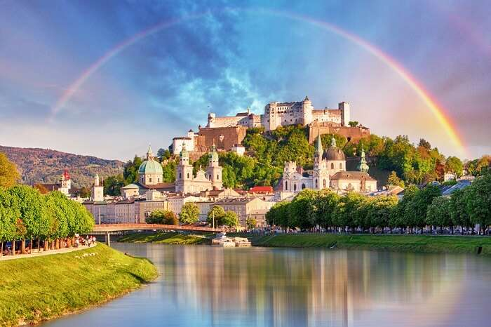 Rainbow over Salzburg castle