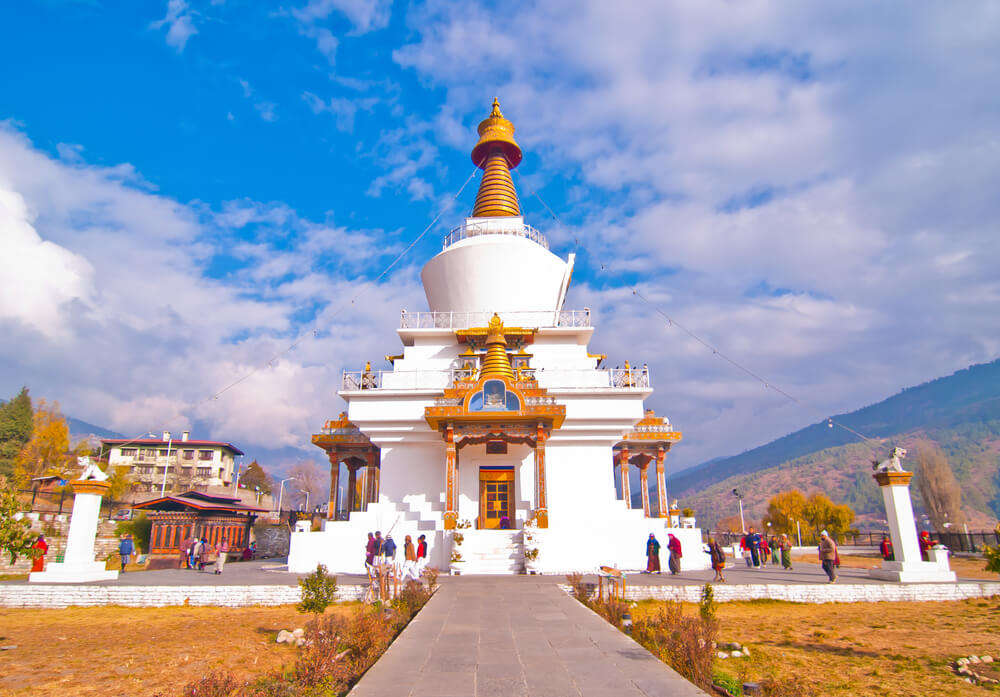 a beautiful white Tibetan meditation temple