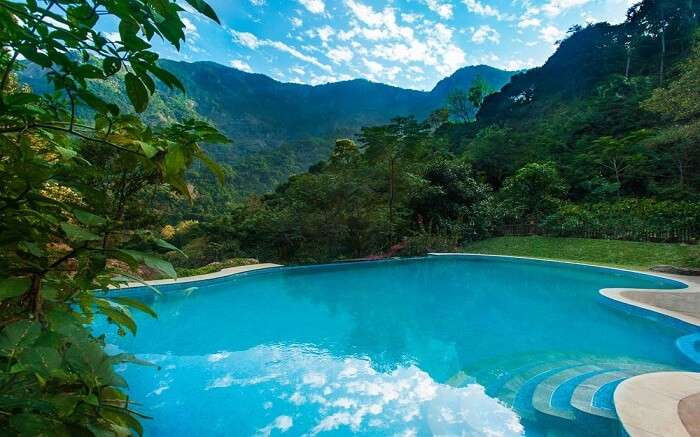 A beautiful swimming pool in the mountains