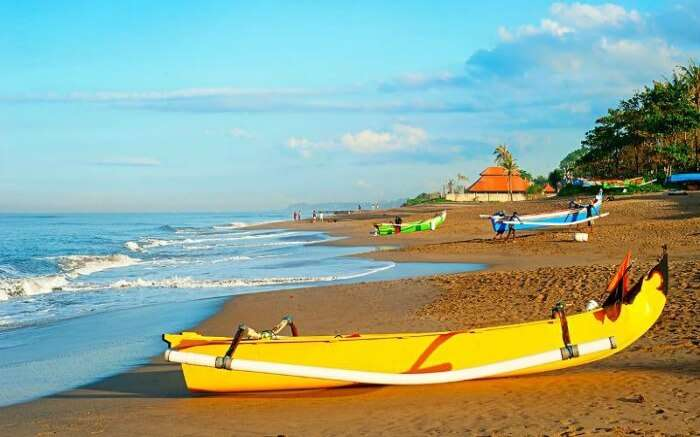 A boat kept by the Nelayan Beach in Canggu Resort
