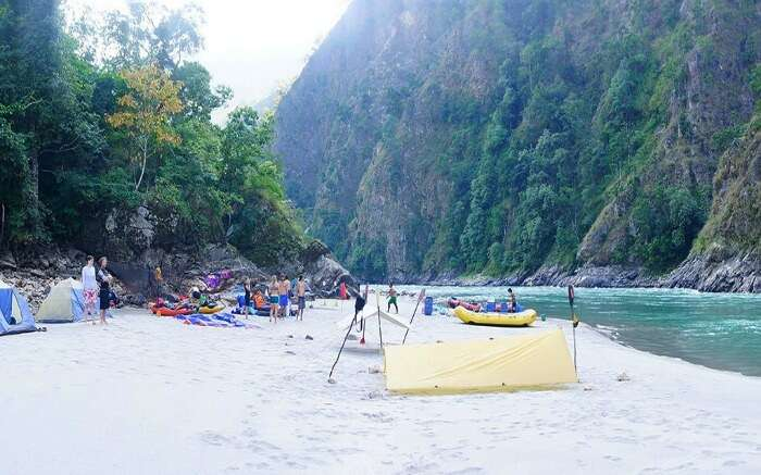 A campsite by the river in Nepal