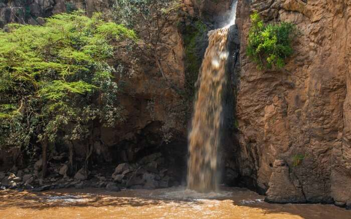 A view of Makalia Falls in Nakuru National Park in Kenya