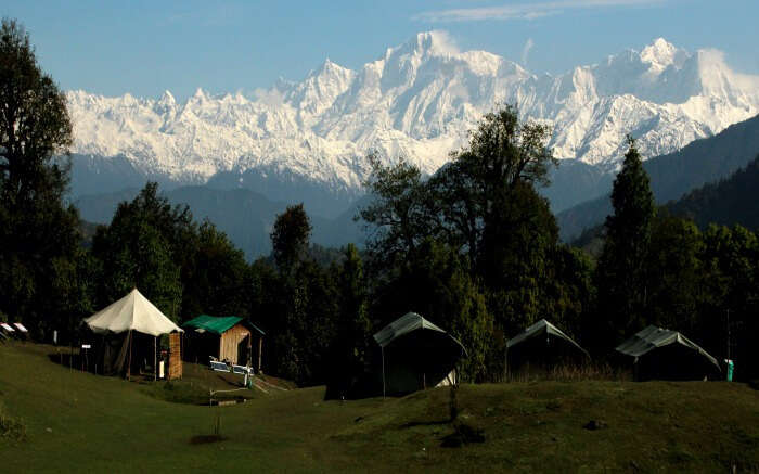 A view of camps in Chopta with mountains in background