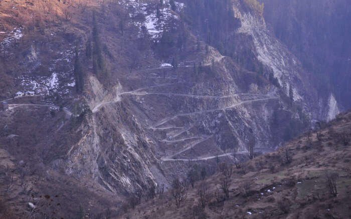 A view of the Malana trek trail in Himachal