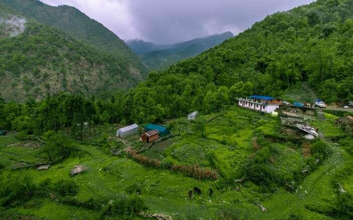 An aerial view of Chopta Base Camp in Uttarakhand