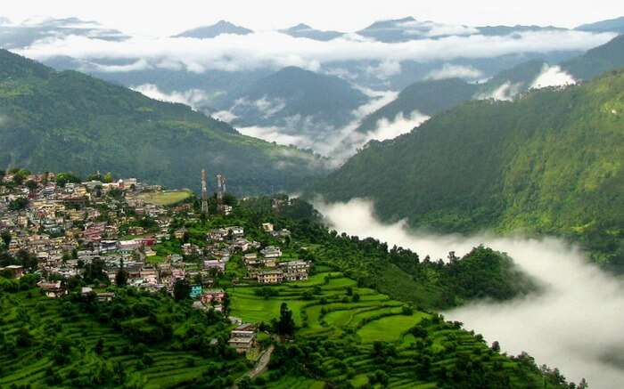An aerial view of Chopta in Uttarakhan