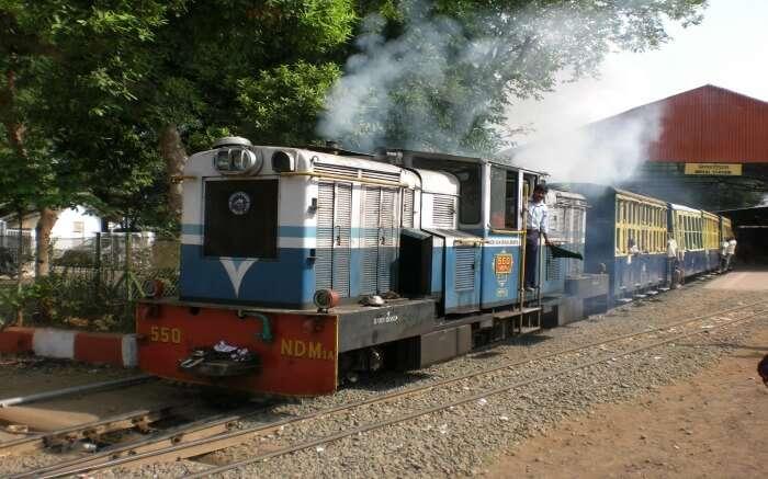 An old colourful train in Matheran
