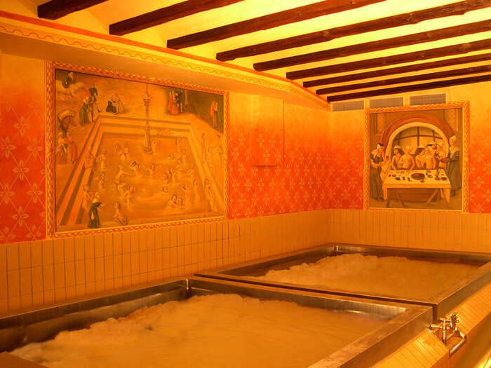 Beer pool in Austria in yellow lighting