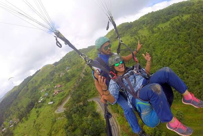 narayan's wife paragliding on her nepal trip