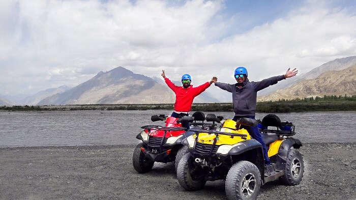 ninad riding atv bikes in ladakh