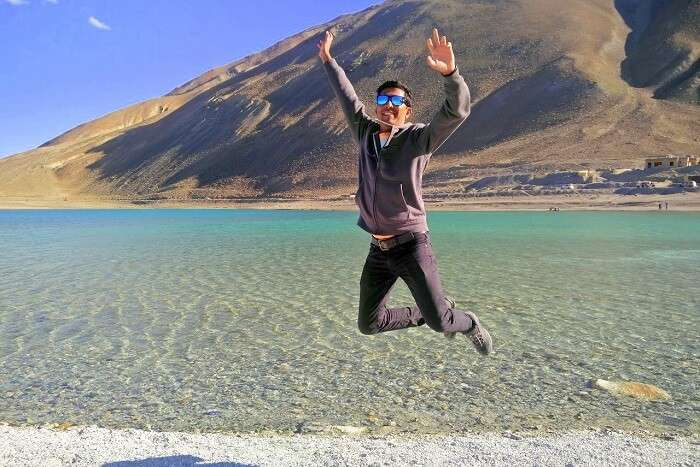 ninad jumping at pangong lake