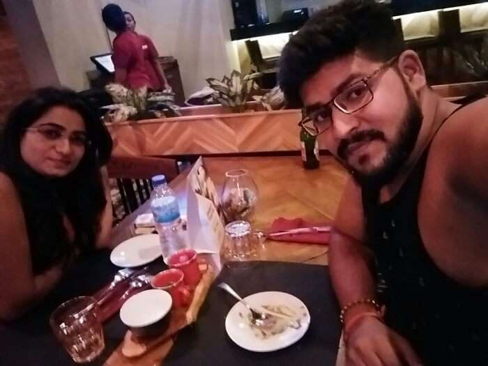 nirav & wife dining after watersports in bali