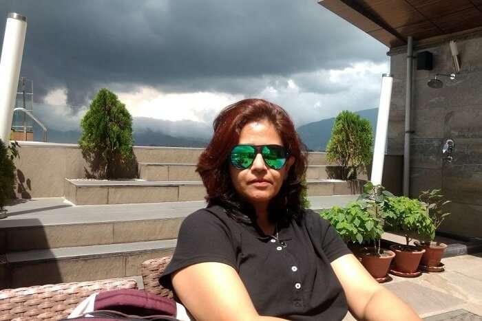 narayan's wife enjoying at Hotel Country Villa in nagarkot
