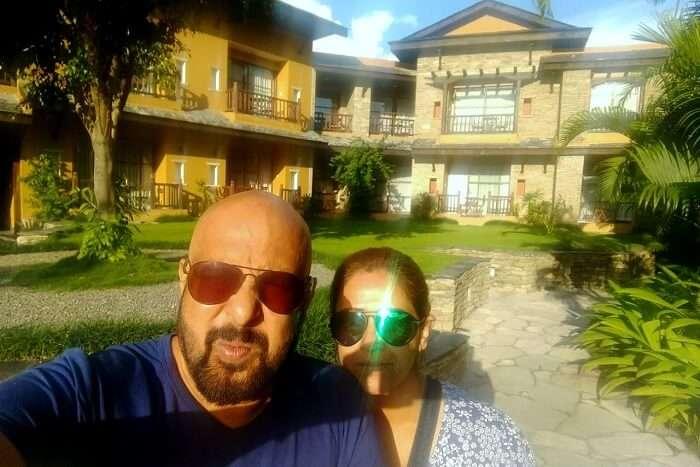 narayan at Temple Tree Resort at Pokhara on his romantic nepal trip