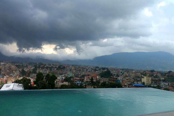 swimming pool in nepal hotel where narayan stayed on his romantic nepal trip