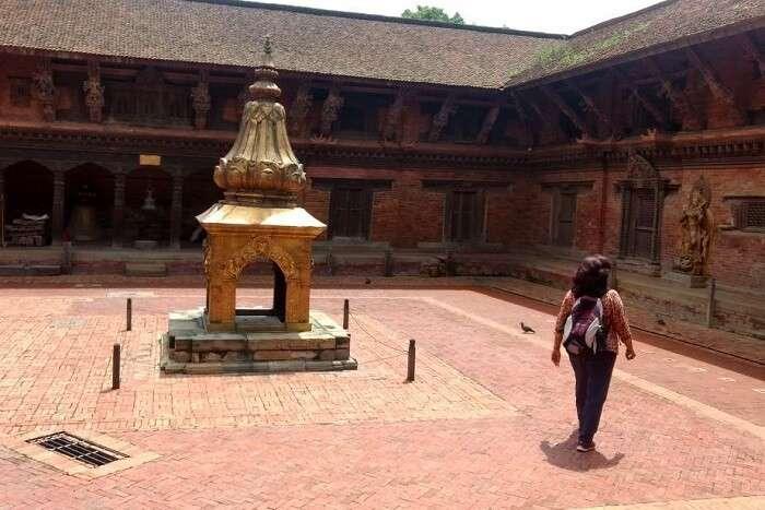 narayan checking out nepal temple interiors