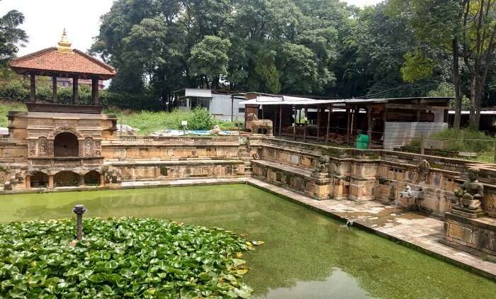 narayan visiting pond near temple in nepal