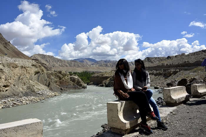 sitting on indus river bank