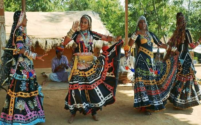 Kalbelia women wearing beautiful colorful dresses