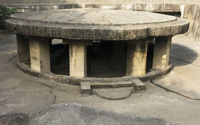 Side view of Pataleshwar Cave Temple in Pune