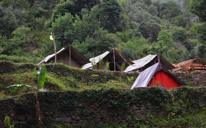 Small tents in mountains