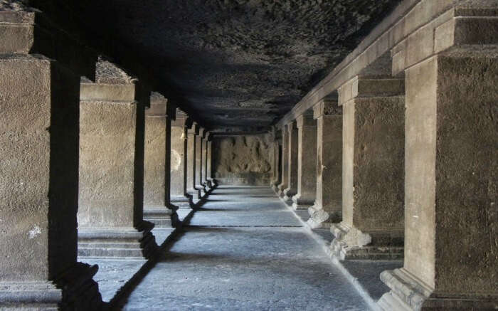 The corridor view of Pataleshwar Caves in Pune