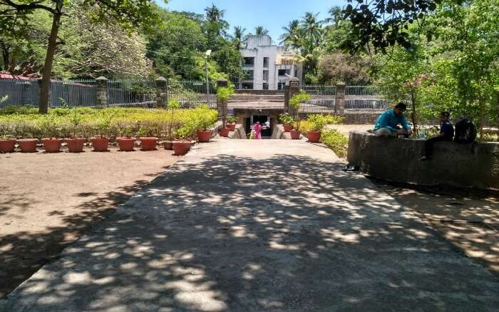 The pathway leading to Pataleshwar Cave Temple in Pune