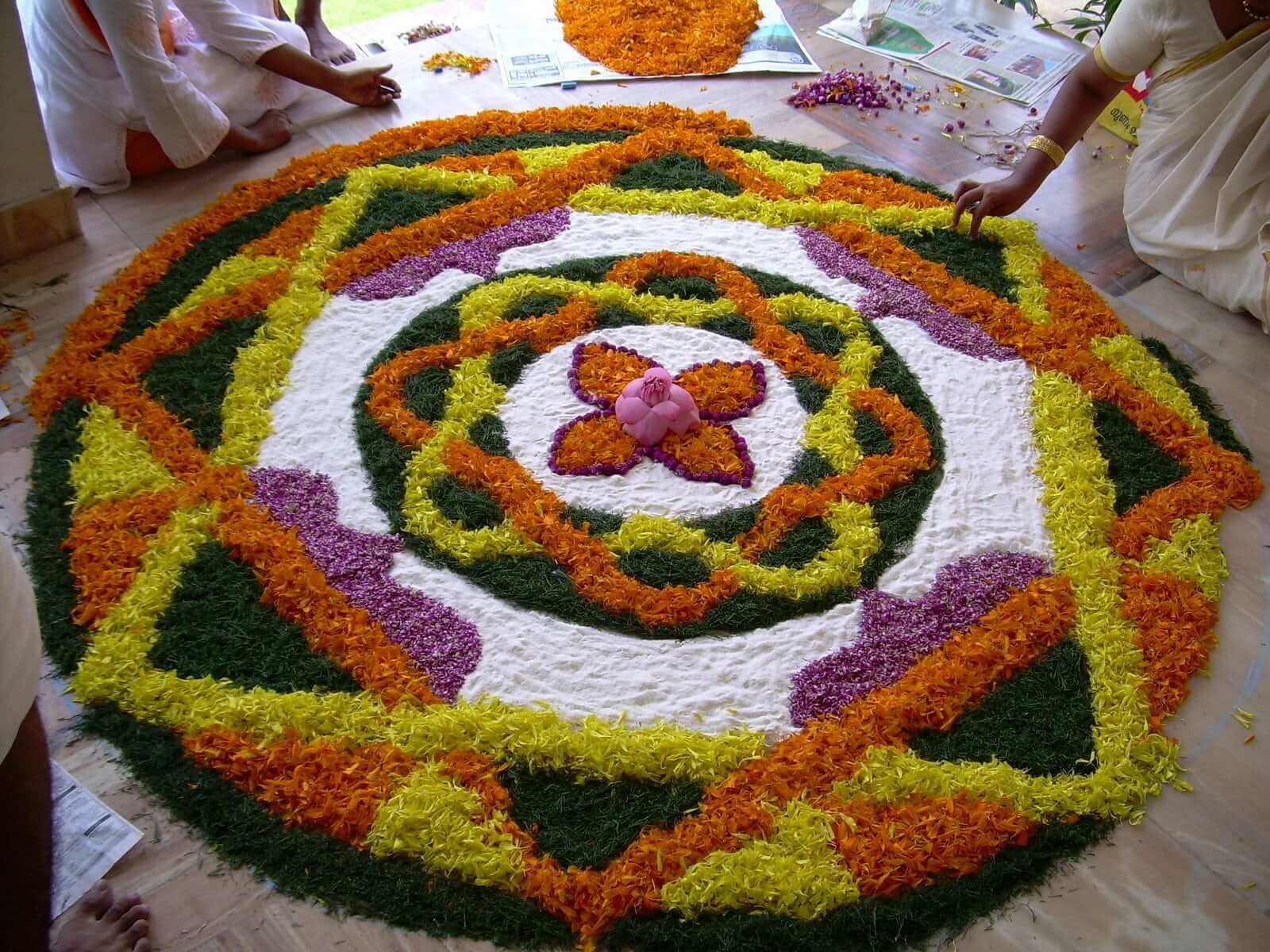 a beautiful flower rangoli on diwlai in south india