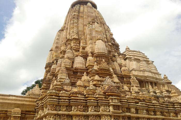 a beautiful old temple in khajuraho