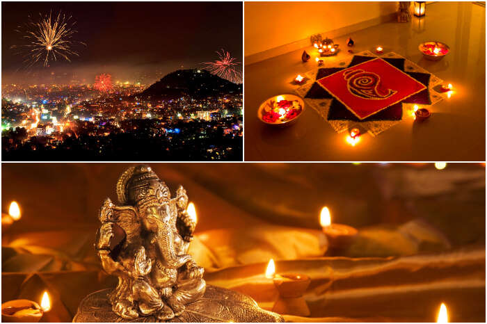 a collage of diwali rituals
