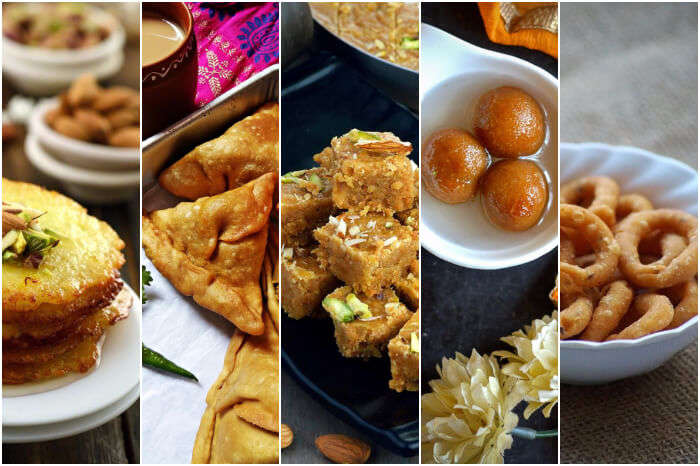 a collage of food prepared on diwali