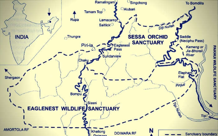 Map of sanctuary region and surroundings of Eaglenest Wildlife Sanctuary