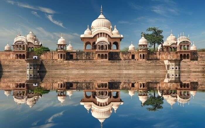 Temple in Mathura by the banks of Kusum Sarovar lake in Uttar Pradesh