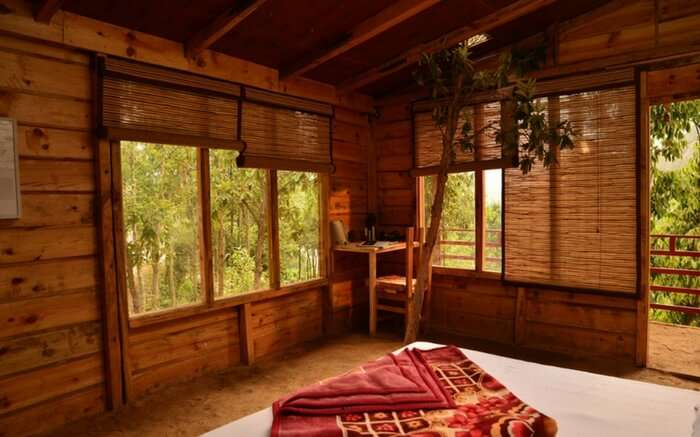 Interior view of Cottage Nirvana Treehouse near Delhi