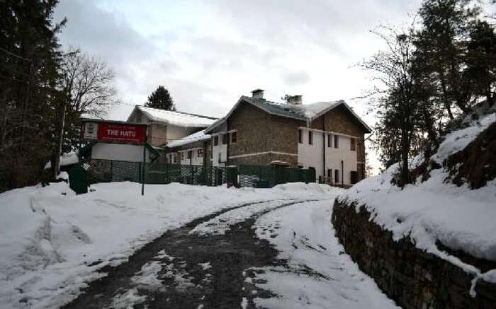 The beautiful Hotel Hatu after fresh snowfall