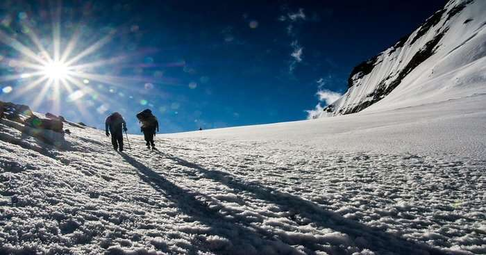 shadows of two trekker on snow covered trails